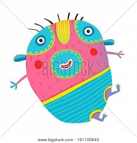Cartoon happy childish imaginary animal. Vector cartoon.