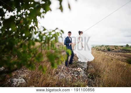 Gorgeous Wedding Couple Standing On The Stone On A Windy Wedding Day In A Countryside With A Tree In