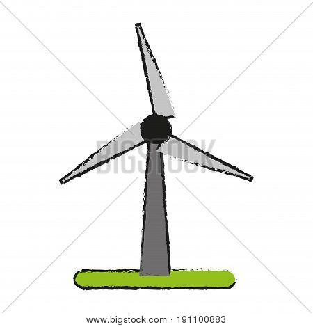 wind turbine eco freindly related icon image vector illustration design  sketch style