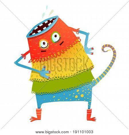 Cartoon strange animal illustration for kids. Vector illustration.