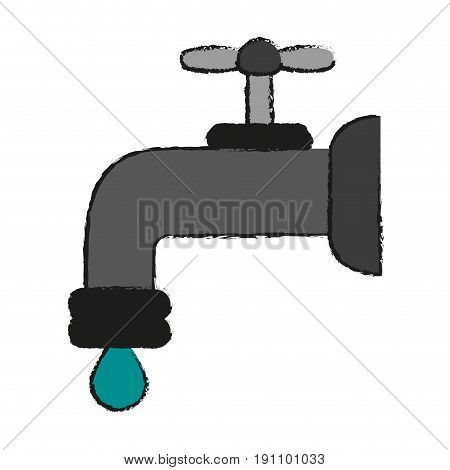 regular faucet and water droplet  icon image vector illustration design  sketch style