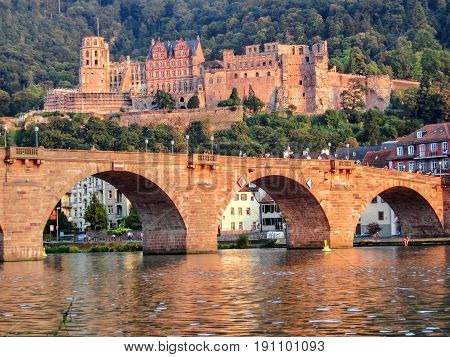 The Heidelberg castle and Carl Theodor bridge during sunset
