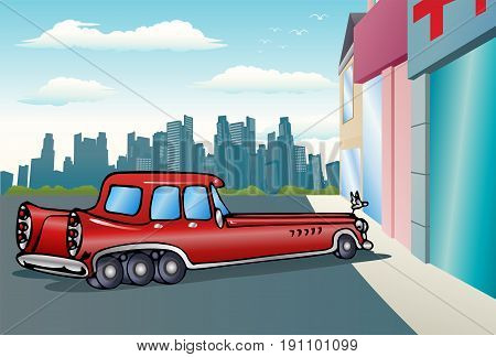 illustration of a super long car in red paint on city background