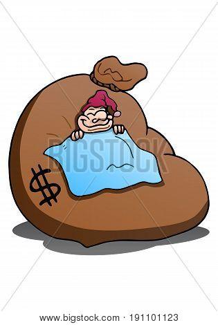 illustration of a man sleeping on money bag over isolated white background