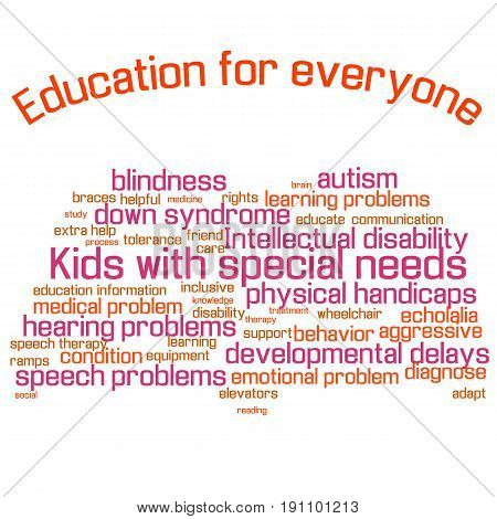 Word cloud collage . Children with special needs education. Book shape, colorful words, white background. Illustration for web or typography magazine, brochure, flyer, poster , EPS 10.