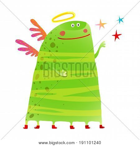 Monster angel with a nimbus childish cartoon. Vector illustration