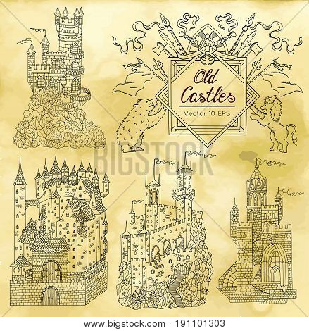 Hand drawn collection with gothic castles and victorian frame on textured background. Graphic vector illustration with vintage design elements. Suitable for invitation, greeting cards