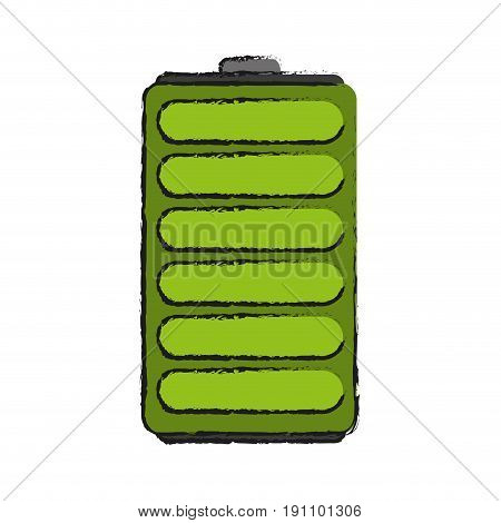 single battery icon image vector illustration design  sketch style