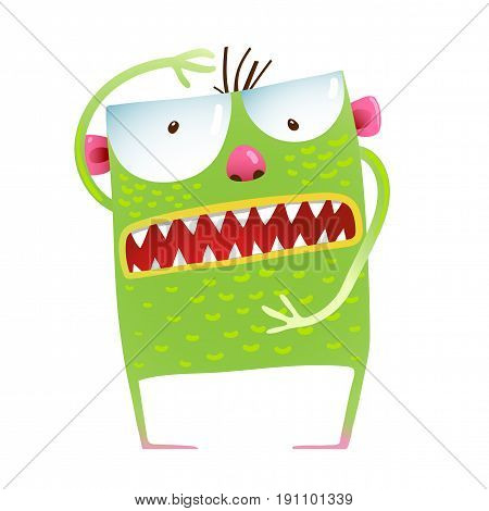 Childish scary green animal amusing character. Vector illustration