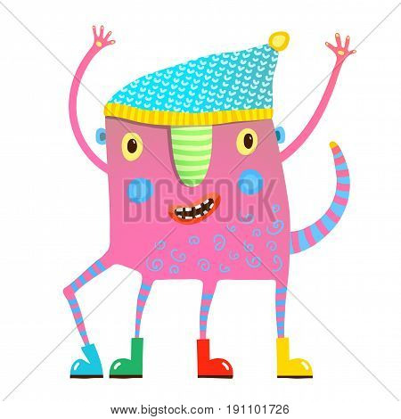 Cute creature for children dancing, showing, wearing clothes. Vector cartoon