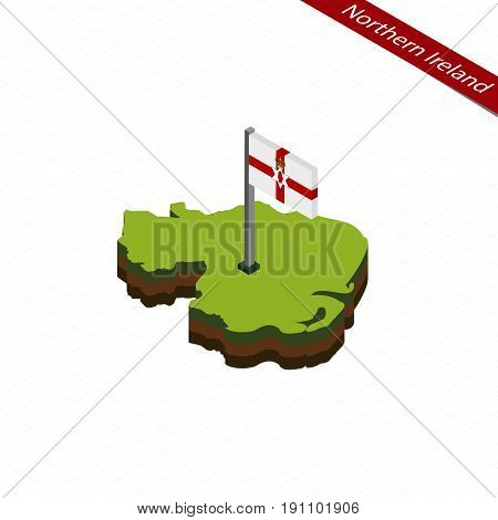 Northern Ireland Isometric Map And Flag. Vector Illustration.