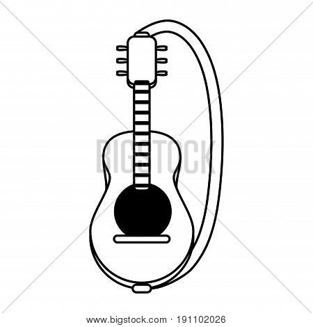 acoustic guitar with strap  icon image vector illustration design  black line