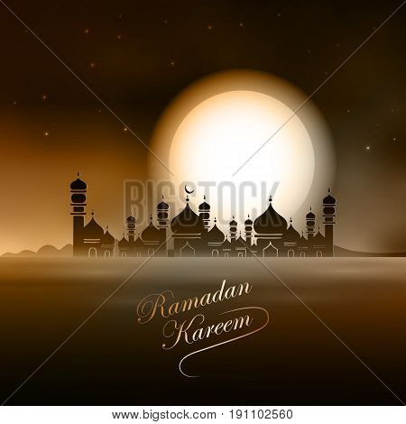 Vector Illustration Ramadan Kareem. Greeting card with mosque, big moon, stars, palm trees, night desert. Ramadan Kareem background.