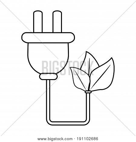 plug with cord eco freindly related icon image vector illustration design  black line