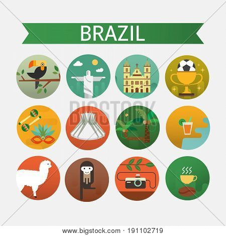 Vector illustration with Brazil symbols  made in modern flat style. Travel to Brazil concept. Flat icons arranged in circle.