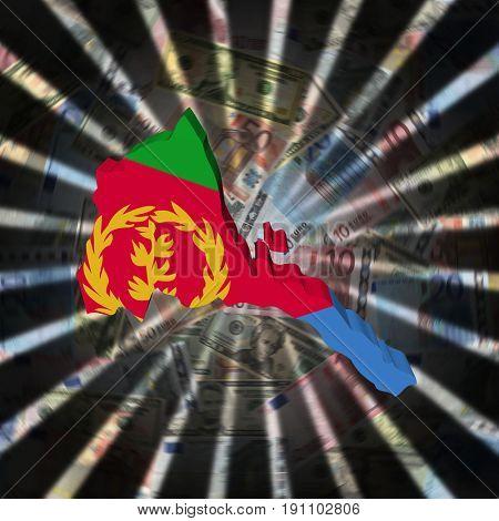 Eritrea map flag on currency burst 3d illustration