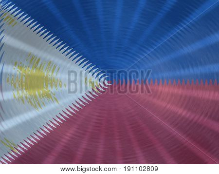 Philippines flag background with ripples and rays illustration