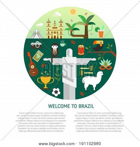 Vector illustration with Brazil symbols  made in modern flat style. Travel to Brazil concept. Flat icons arranged on circle and place for your text.