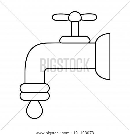 regular faucet and water droplet  icon image vector illustration design  black line
