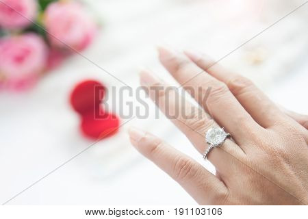 Wedding concept Marry me? Selective focus on diamond ring