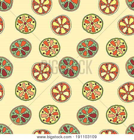 Seamless Vector Hand Drawn Childish Pattern With Fruits. Cute Childlike Lime, Lemon, Orange, Grapefr