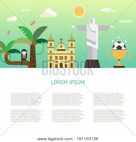 Vector illustration with Brazil symbols  made in modern flat style. Banner with Travel to Brazil concept. Place for your text.