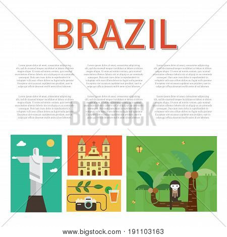 Vector illustration with Brazil symbols  made in modern flat style. Travel to Brazil concept. Flat icons arranged in square and place for your text.