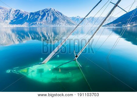 Sunken sailboat in the Bay of Kotor.Shipwreck .
