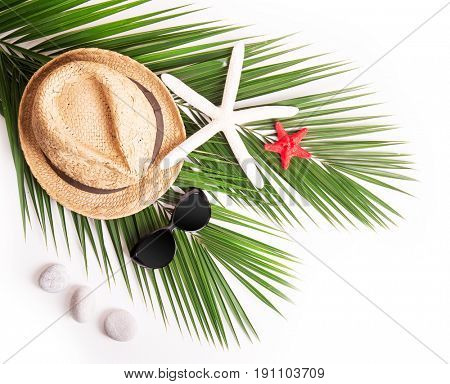 Summer background. Palm leaf with stones and shells,sunglasses and a hat.