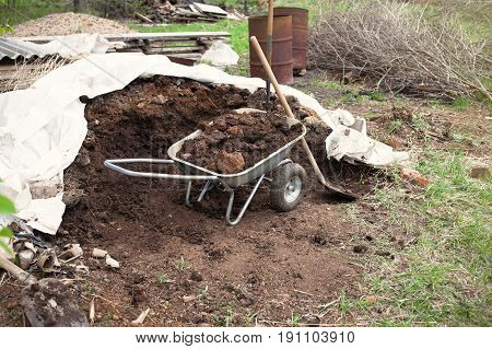 Wheelbarrow with manure on outdoor. Pile of soil