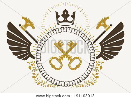 Vintage winged emblem created in vector heraldic design and composed using security keys hatchets and royal crown.