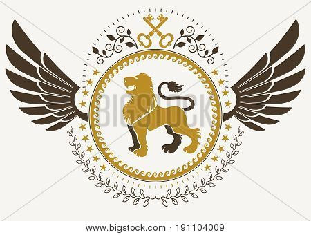 Vintage winged emblem created in vector heraldic design and composed using wild lion illustration and security keys.