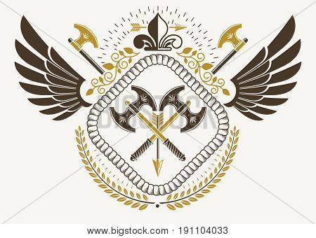 Vintage winged emblem created in vector heraldic design and composed using hatchets and lily flower royal symbol.