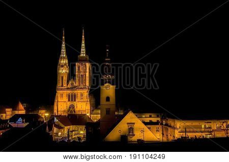 Zagreb cathedral at night view famous landmarks of Croatian capital city