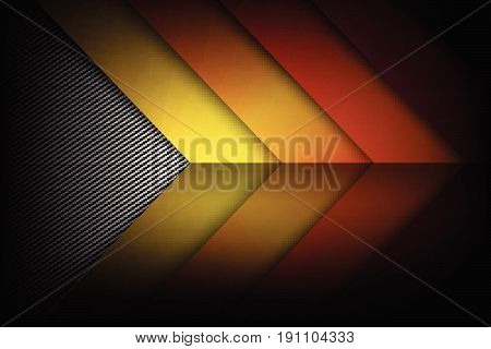 Abstract red orange yellow background dark and black carbon fiber with curve and layered overlap element vector illustration eps10