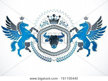 Vector emblem made in vintage heraldic design created with vector elements like mythic Pegasus wild bison and monarch crown.