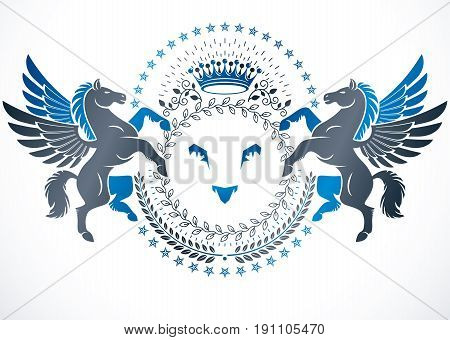 Vector emblem made in vintage heraldic design. Heraldic emblem decorated with graceful Pegasus wild lion and pentagonal stars.