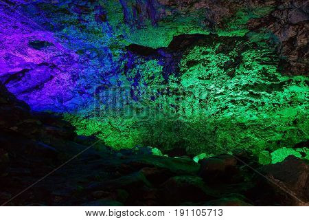 Texture of rock , covered with frost inside the cave, numerous mining deposits. Kungur In Urals