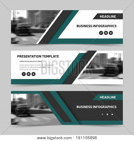 Trendy horizontal business banner templates. Three header design for website advertisement and promotion. Vector illustration eps10