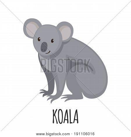 Cute Koala in flat style isolated on white background. Cartoon koala. Zoo animal. Vector illustration.