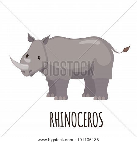 Cute Rhinoceros in flat style isolated on white background. Cartoon rhinoceros. Zoo animal. Vector illustration.
