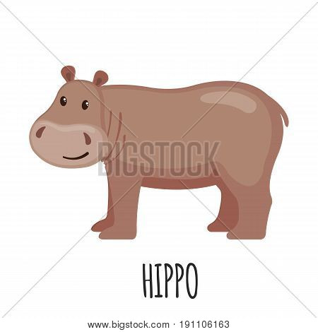 Cute Hippo in flat style isolated on white background. Cartoon hippo. Zoo animal. Vector illustration.