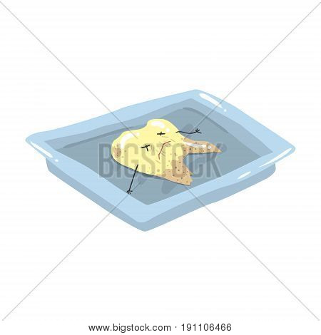Funny extracted dead tooth lying on a steel tray cartoon vector Illustration isolated on a white background