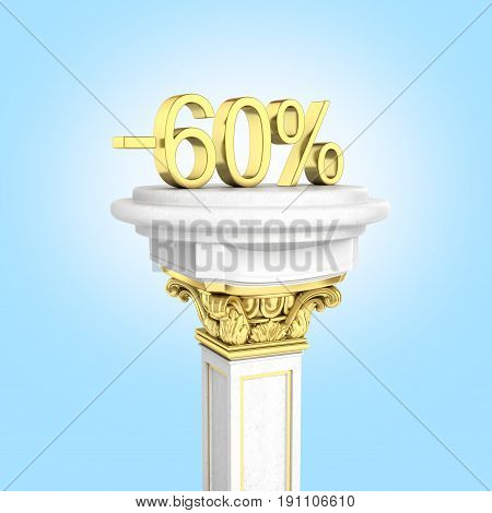 Gold Text 60 Percent Off Standing On The Pedestal On Blue Gradient Background 3D Render