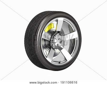 Car Wheel With Brake Isolated On White Background 3D Without Shadow