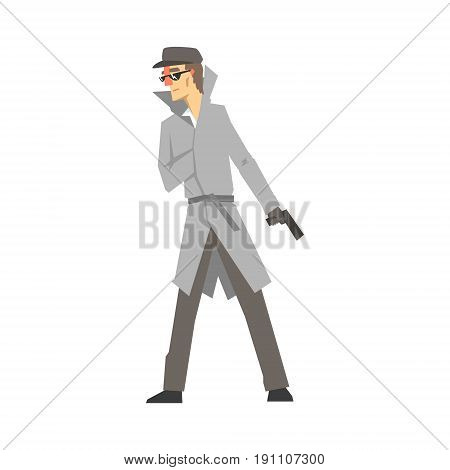 Detective character with gun, confident detective in gray coat searching vector Illustration isolated on a white background