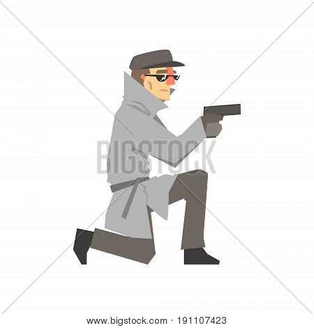 Detective character in a gray coat aiming a gun knees, private investigator, inspector or police officer vector Illustration isolated on a white background