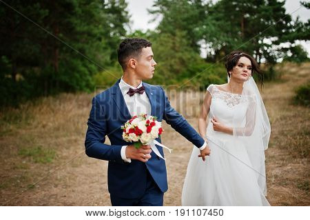 Newly Married Enjoy Each Other's Company In A Beautiful Countryside With Pine Trees And Dry Grass On