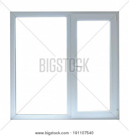 Closed window frame Isolated on white background