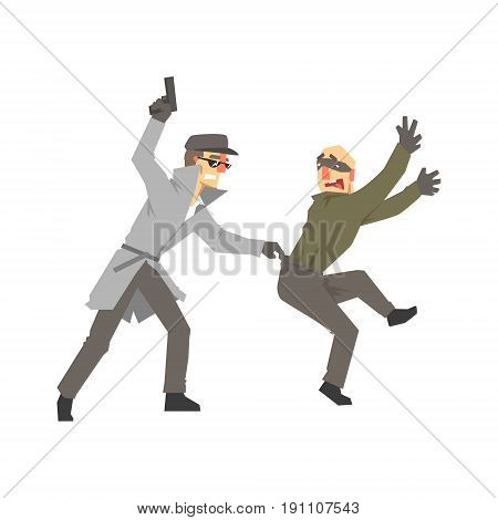 Detective character with gun detaining suspect, private investigator, inspector or police officer vector Illustration isolated on a white background